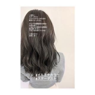 イルミナカラー グレージュ セミロング デジタルパーマ ヘアスタイルや髪型の写真・画像