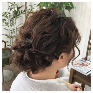 結婚式 ミディアム ナチュラル ヘアアレンジ ヘアスタイルや髪型の写真・画像 ヘアスタイルや髪型の写真・画像