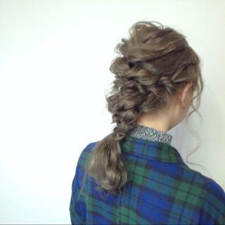 ミルクティー ロープ編み ヘアアレンジ ロング ヘアスタイルや髪型の写真・画像