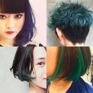 黒髪 ヘアアレンジ ミディアム ストリート ヘアスタイルや髪型の写真・画像