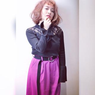 ピンク レッド パープル ガーリー ヘアスタイルや髪型の写真・画像