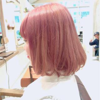 ガーリー ピンク ボブ グラデーションカラー ヘアスタイルや髪型の写真・画像