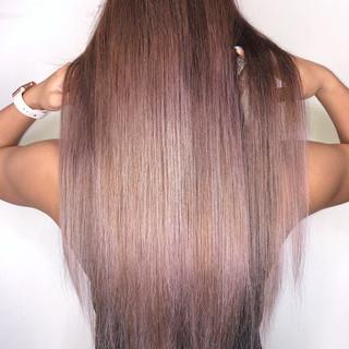 ピンクアッシュ ハイトーン ストリート ロング ヘアスタイルや髪型の写真・画像