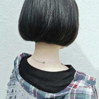 モード ボブ ワンレングス 黒髪 ヘアスタイルや髪型の写真・画像