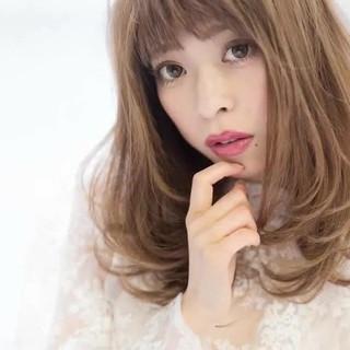 大人かわいい デート フェミニン ミディアム ヘアスタイルや髪型の写真・画像