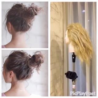 簡単ヘアアレンジ ショート ガーリー ヘアアレンジ ヘアスタイルや髪型の写真・画像