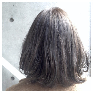 ハイライト グレージュ アッシュ ボブ ヘアスタイルや髪型の写真・画像