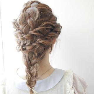ゆるふわ ヘアアレンジ フェミニン セミロング ヘアスタイルや髪型の写真・画像
