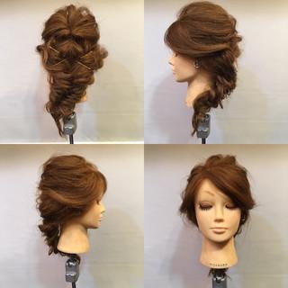ヘアアレンジ フィッシュボーン 編み込み くるりんぱ ヘアスタイルや髪型の写真・画像