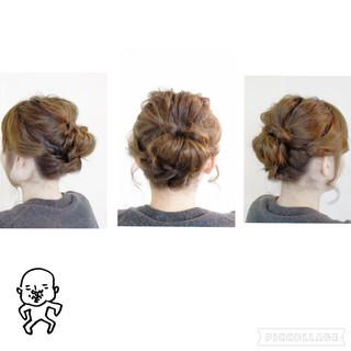編み込み ねじり 波ウェーブ ヘアアレンジ ヘアスタイルや髪型の写真・画像 ヘアスタイルや髪型の写真・画像