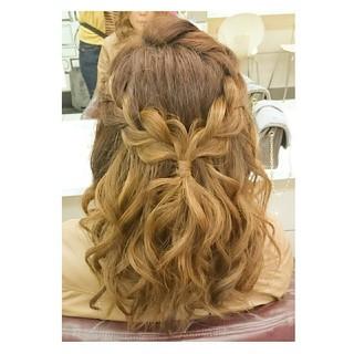 ヘアアレンジ セルフヘアアレンジ セミロング ガーリー ヘアスタイルや髪型の写真・画像