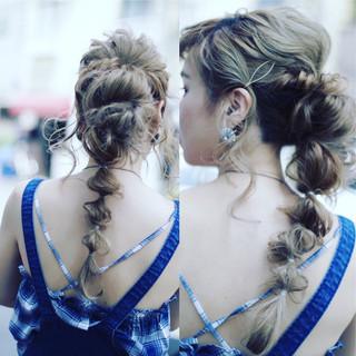 パーティ ギブソンタック ロング 編み込み ヘアスタイルや髪型の写真・画像