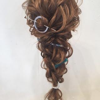 ロング 編み込み 結婚式 パーティ ヘアスタイルや髪型の写真・画像