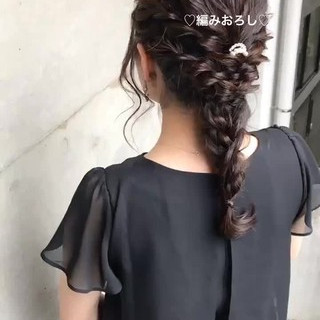 二次会 ナチュラル 結婚式 編み込み ヘアスタイルや髪型の写真・画像