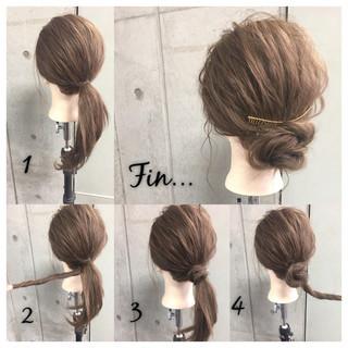 簡単ヘアアレンジ シニヨン セミロング ショート ヘアスタイルや髪型の写真・画像