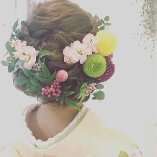 ヘアアレンジ 振袖 成人式 セミロング ヘアスタイルや髪型の写真・画像