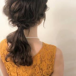 デート セミロング ナチュラル ヘアアレンジ ヘアスタイルや髪型の写真・画像