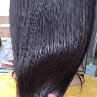 セミロング 暗髪 最新トリートメント 秋冬スタイル ヘアスタイルや髪型の写真・画像