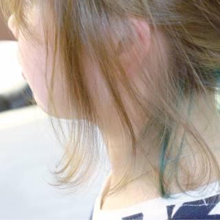 アッシュ ボブ ブリーチ グリーン ヘアスタイルや髪型の写真・画像
