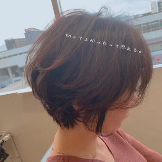 ハンサムショート 大人かわいい ショートボブ ナチュラル ヘアスタイルや髪型の写真・画像