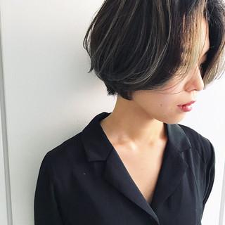 アンニュイほつれヘア 3Dハイライト ショート ハイライト ヘアスタイルや髪型の写真・画像