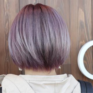 アッシュ ブリーチ ピンク ラベンダーピンク ヘアスタイルや髪型の写真・画像
