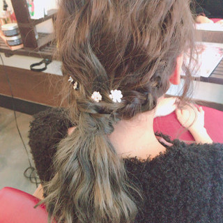 編み込み パーティ セミロング ショート ヘアスタイルや髪型の写真・画像