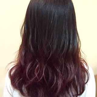 ピンク ブリーチなし セミロング レッド ヘアスタイルや髪型の写真・画像