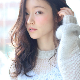 暗髪 おフェロ 艶髪 ロング ヘアスタイルや髪型の写真・画像