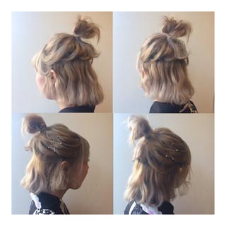 ハーフアップ 波ウェーブ ボブ ヘアアレンジ ヘアスタイルや髪型の写真・画像