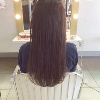 ワンカール センターパート ピンクアッシュ ロング ヘアスタイルや髪型の写真・画像