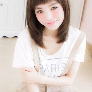 モテ髪 ミディアム ガーリー マルサラ ヘアスタイルや髪型の写真・画像