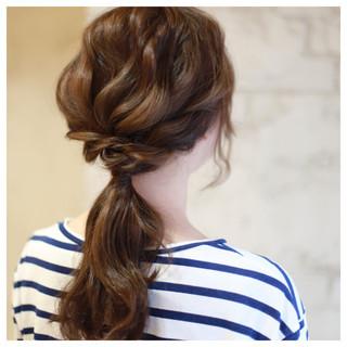 セミロング ストレート 暗髪 簡単ヘアアレンジ ヘアスタイルや髪型の写真・画像
