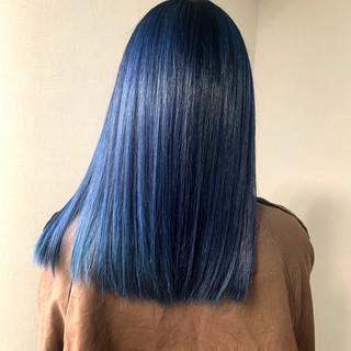 ダブルカラー モード ネイビーブルー ブリーチカラー ヘアスタイルや髪型の写真・画像