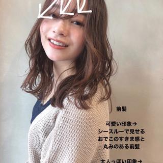 セミロング ヘアアレンジ ナチュラル イルミナカラー ヘアスタイルや髪型の写真・画像 | 大垣峰志 / CHAINON梅田