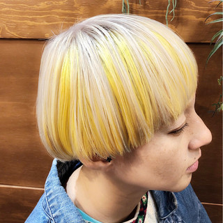 バレイヤージュ グラデーションカラー ストリート ショート ヘアスタイルや髪型の写真・画像