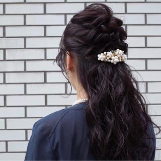 ハーフアップ ロング 暗髪 ショート ヘアスタイルや髪型の写真・画像 ヘアスタイルや髪型の写真・画像