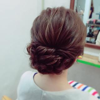 セミロング ねじり 編み込み ヘアアレンジ ヘアスタイルや髪型の写真・画像