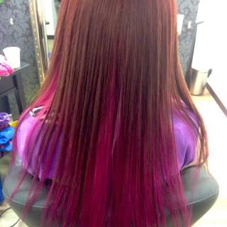 レッド グラデーションカラー 渋谷系 ピンク ヘアスタイルや髪型の写真・画像