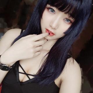 ロング ブルー 暗髪バイオレット ストリート ヘアスタイルや髪型の写真・画像