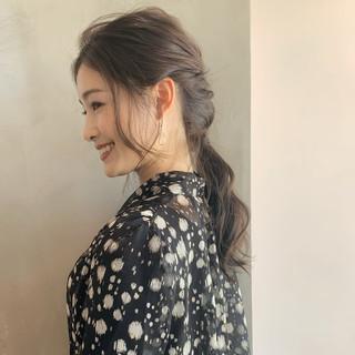 結婚式 大人女子 ナチュラル 編み込み ヘアスタイルや髪型の写真・画像