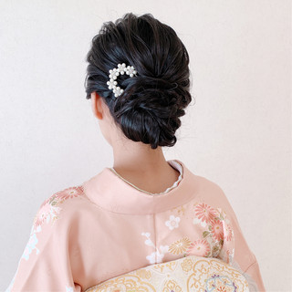 振袖ヘア エレガント セミロング 結婚式ヘアアレンジ ヘアスタイルや髪型の写真・画像