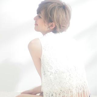 大人かわいい ピュア ラフ ハイトーン ヘアスタイルや髪型の写真・画像
