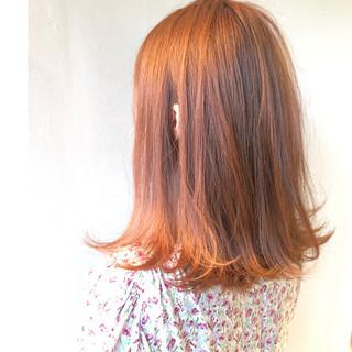 アプリコットオレンジ 透明感 デート ツヤ髪 ヘアスタイルや髪型の写真・画像