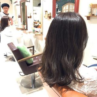 ナチュラル 暗髪 透明感 セミロング ヘアスタイルや髪型の写真・画像
