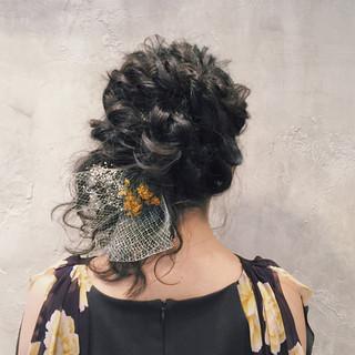 結婚式 ヘアアレンジ パーティ 編み込み ヘアスタイルや髪型の写真・画像