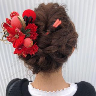 結婚式 成人式 ミディアム フェミニン ヘアスタイルや髪型の写真・画像