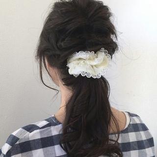 ヘアアレンジ くるりんぱ ポニーテール ガーリー ヘアスタイルや髪型の写真・画像 ヘアスタイルや髪型の写真・画像