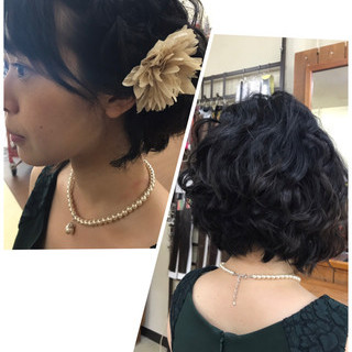 簡単ヘアアレンジ ボブ 女子会 結婚式 ヘアスタイルや髪型の写真・画像