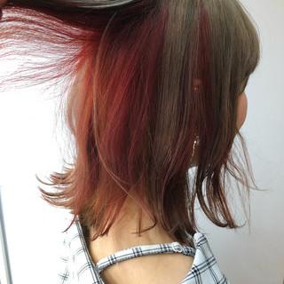 アプリコットオレンジ インナーカラー ナチュラル ミディアム ヘアスタイルや髪型の写真・画像 ヘアスタイルや髪型の写真・画像